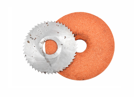 cut off saw: Grinding disc and circular saw blade, isolated on white background Stock Photo