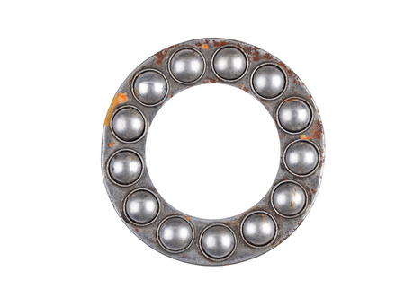 chromium plated: Old and dirty ball bearing, isolated on white background Stock Photo