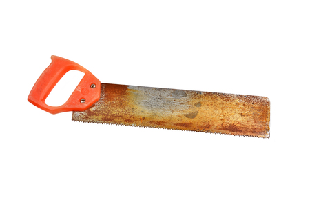 cut off saw: Vintage rusty saw, isolated on white background