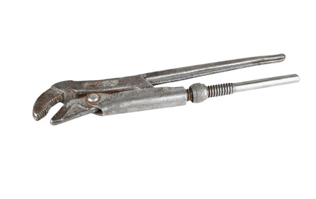 screw key: Old rusty wrench, isolated on white background