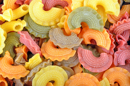 wholegrain: Close up of wholegrain italian pasta, as background Stock Photo