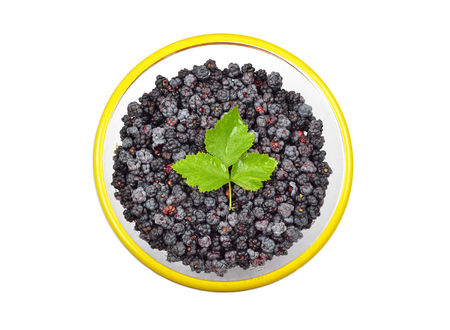 rubus: Blackberry (rubus) in glass bowl, isolated on white background