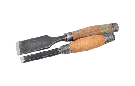 whack: Old and rusty chisel, isolated on white background