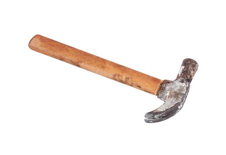 whack: Rusty shoemaker hammer, isolated on white background Stock Photo