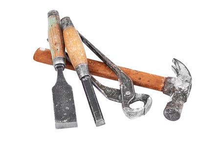 maul: Set of work tool, isolated on white background Stock Photo
