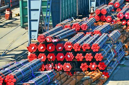 culvert: Stacked PVC and steel pipe ready for shipment