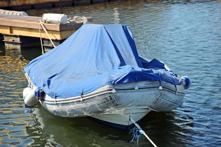 odessa: Rubber motor boat over harbor pier, Odessa, Ukraine Stock Photo