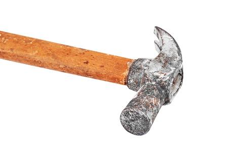 whack: Old rusty hammer, isolated on white background