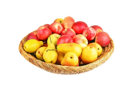 wattled: Apple and pear in a wattled basket, isolated on white background