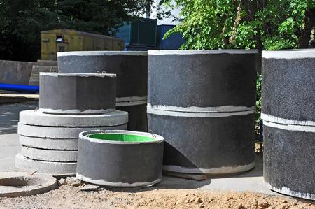 sump: Concrete circle pit block on construction site