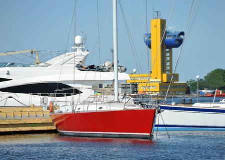 odessa: Red and white motor yacht over harbor pier, Odessa, Ukraine