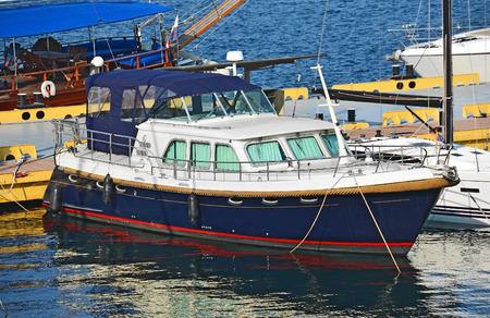 odessa: Motor yacht by harbor pier, Odessa, Ukraine