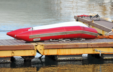 caoutchouc: Rubber motor boat over harbor pier, Odessa, Ukraine Stock Photo
