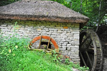wheelhouse: Vintage water mill wheel, Pirogovo, Kiev, Ukraine Stock Photo
