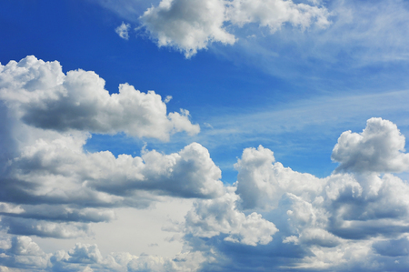 cumulus: Blue sky background with fluffy white clouds