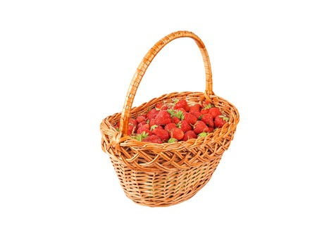 wattled: Strawberry in a wattled basket, isolated on a white background