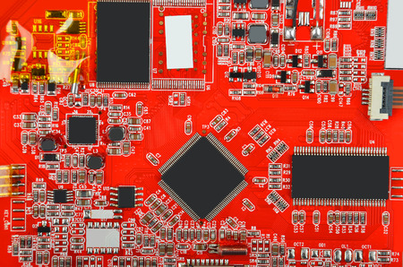 microcircuit: Printed computer motherboard with microcircuit, close up