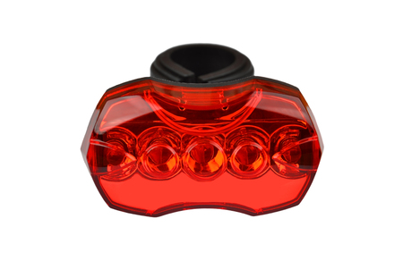 reflector: Red light bike reflector, isolated on white background