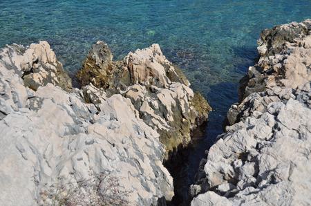 waterweed: View of coastal rock landscape in Croatia Stock Photo