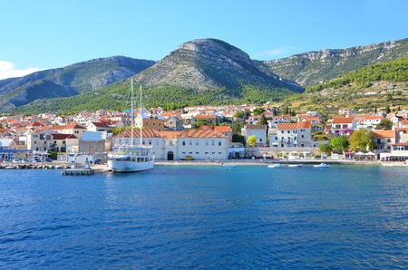 coastal city: View of the summer coastal city landscape in Croatia Stock Photo