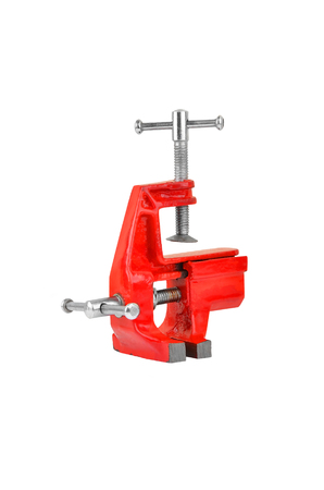 constrict: Mechanical hand vise clamp, isolated on white background