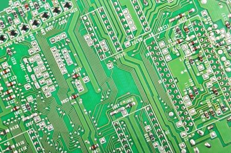 Close-up van een gedrukte groene computer circuit board Stockfoto