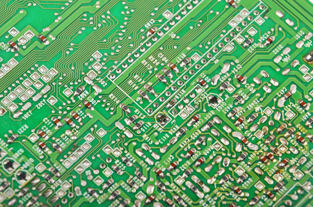 gigabyte: Close up of a printed green computer circuit board
