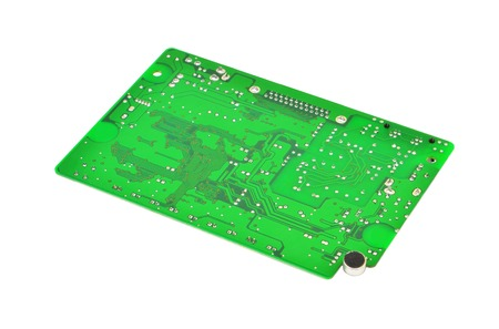 printed: Printed green circuit board,  isolated on white background Stock Photo