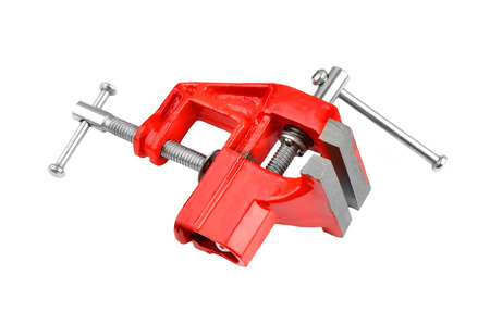 pressurized: Mechanical hand vise clamp, isolated on white background