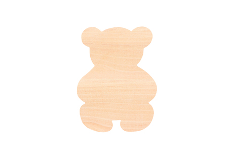 Christmas wooden bear toy, isolated on white background Stock Photo