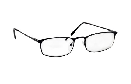 shortsightedness: Black metal glasses, isolated on the white background