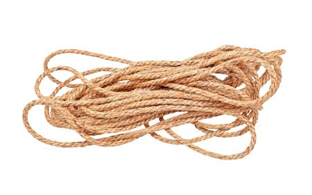 Natural fiber manila rope, isolated on white background