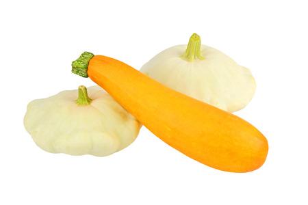 cucurbita: Scalloped custard and marrow squash (Cucurbita pepo var. patisson), isolated on white background