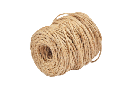 polea: cuerda de yute natural, aislado en fondo blanco Foto de archivo