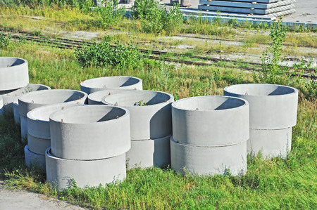 Concrete circle pit block on factory yard