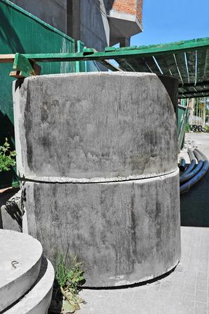 culvert: Concrete circle pit block on construction site