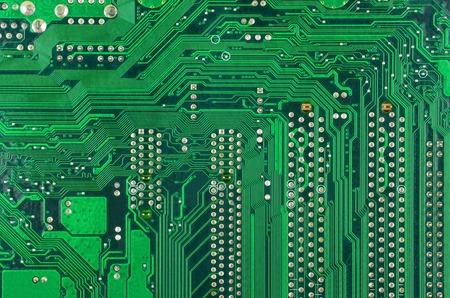printed: Close up of a printed green computer circuit board
