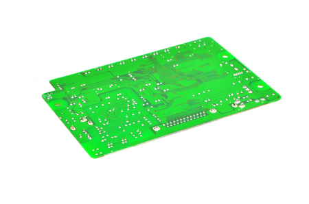 cmos: Printed green circuit board,  isolated on white background Stock Photo