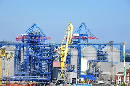 odessa: Cargo crane and grain dryer in port Odessa, Ukraine
