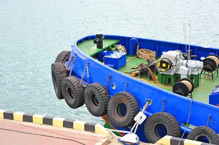 secure brake: Anchor and mooring windlass mechanism on tugboat deck