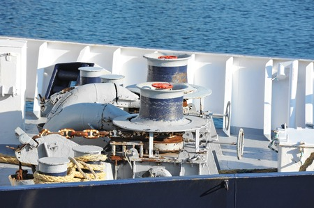 secure brake: Anchor windlass mechanism with chain on ship deck