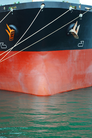 ship bow: Bulk carrier ship bow iwith mooring rope