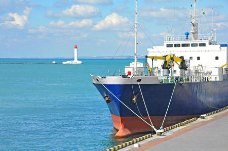 Bulk carrier ship in port of Odessa, Ukraine