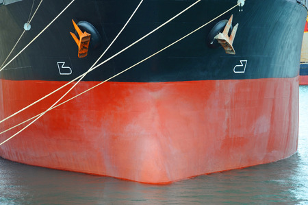 ship bow: Bulk carrier ship bow with mooring rope Stock Photo