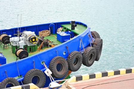 Anchor and mooring windlass mechanism on tugboat deck