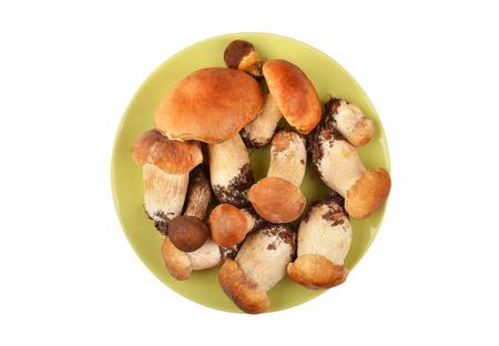 Boletus edulis mushroom in clay plate, isolated on white background
