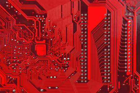 cmos: Close up of a printed red computer circuit board