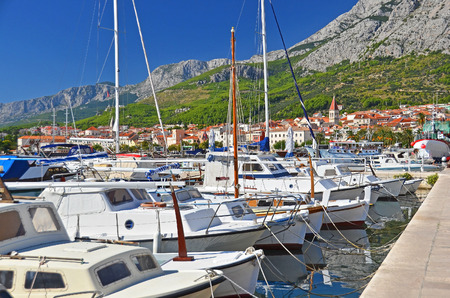 Motorboat in jetty over harbor pier, Croatia, Europe