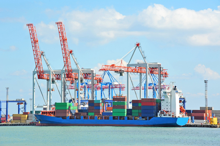 Port cargo crane, ship and container, Odessa, Ukraine Stock Photo