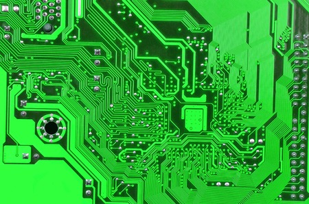 terabyte: Close up of printed green computer circuit board Stock Photo